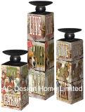 MDF dell'oggetto d'antiquariato dell'annata di disegno dell'uccello della molla S/3 di legno/supporto di candela di carta del quadrato del cilindro decalcomania del metallo