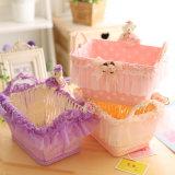 Grande boîte de rangement créative de bureau, panier en tissu et en dentelle pour téléphone mobile, cadeau, cosmétiques