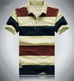 Мужская рубашка-поло полосой вязки