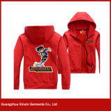 남자와 여자 (T39)를 위한 Hoody 스웨터가 빨강 높은 쪽으로 인쇄한 지퍼에 의하여