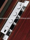 Color madera metálica de acero de seguridad exterior de la puerta de entrada (W-S-135)