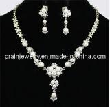 La primavera de conjunto de cadenas de moda collar ajustable joyas chapado en plata de pendientes de perla