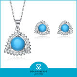 Rubí elegante conjunto de joyas de plata con diseño personalizado (J-0141)