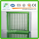 녹색 파랗고 또는 명확한 잘 Satefy 모양 장식무늬가 든 유리 제품 구획 또는 유리 벽돌 또는 코너 구획