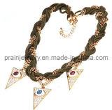 Moda primavera /Collar chapado en oro amarillo con perlas de cristal incrustados con cordones de acrílico que son el medio ambiente