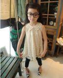 Kind-Sommer-Mädchen-Chiffon- Spitze-Perlen-Kragen-Sleeveless Prinzessin