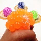 Sfera Squishy della maglia - sfera di gomma di sforzo dell'uva dello sfiato - che comprime la sfera di distensione della tensione - arancio