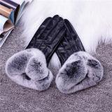 Мода теплой зимой леди кролик мех кузова кожаные перчатки