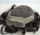 100% 인도 사람 Remy 머리 & 얇은 피부에 의하여 주사되는 Toupee