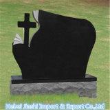 De zwarte Grafsteen van het Ontwerp van het Graniet Kruis Gevormde met Gouden Vlekken