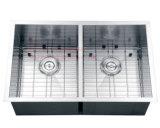 鋼鉄ハンドメイドの流し、台紙の同輩の倍ボールのハンドメイドの台所の流しの下のステンレス鋼