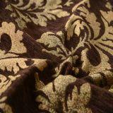 Ткань синеля деталя листьев жаккарда Brown для софы и тканья