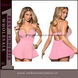 Lingerie Transparente Transparente da boneca da fantasia das mulheres sexy roxas