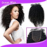 高品質の熱い販売のアフリカのカールのカンボジアの毛の絹の上のレースの閉鎖