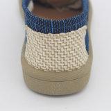 Neuestes verursachendes Streifen-beige Segeltuch preiswerte flache Belüftung-Sohle-Schuhe