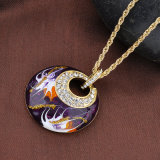 紫色のエナメルの円形の吊り下げ式の金の鎖亜鉛合金のカスタム宝石類のネックレス