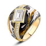 De nieuwe Ring van de Verklaring van het Kristal van Rhinstone van het Email van het Punt Zwarte Gouden