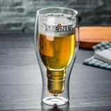 Tasse de jus de créatifs à double paroi en forme de cuvette en verre de bière potable personnaliser Beer Cup