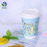 Жара изолировала бумажные кофейные чашки 16oz при напечатанный логос