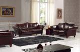 Классическая живущий мебель софы кожи комнаты с верхней кожей с сохранённым природным лицом