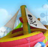 2 en 1 colores inflable barco pirata con la diapositiva y bouncer para niños