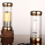 Acero inoxidable oro Cristal Regalo Botella de agua con Tea Infuser