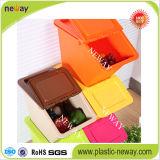 Caixa de armazenamento plástica Stackable do tamanho pequeno com tampa do balanço
