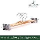Percha de madera contrachapada barato, uso del hogar de las bragas de la suspensión con el clip