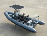 Aqualand 21pies 6,4m de fibra de vidrio/Lancha inflable rígido Rib en barco a motor (RIB640T)