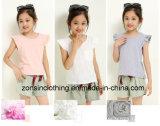 綿の短い袖の女の子のT-Shirt+のパンツスーツの子供の衣服