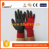 Ddsafety 2017 gants fonctionnants enduits par unité centrale en nylon rouges de noir de doublure