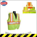 Chaleco reflexivo de la seguridad de la fábrica verde negra del ANSI Class2 con el bolsillo