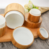 Choc en bois intérieur personnel de la crème pp de soin avec le couvercle en bambou