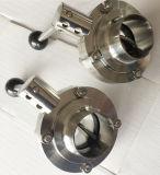 DIN/SMS/3a de acero inoxidable Manual sanitaria la válvula de mariposa con Empuñadura/palanca multifunción