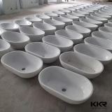 Piccoli bacino di mano della lavata & basamento ovali di pietra di marmo (B1705101)