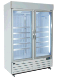 Congelador vertical dinâmico da bebida do ventilador com a porta dobro do vidro do balanço