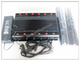 A freqüência ultraelevada poderosa a mais nova Lojack RF 315-433-868 do VHF do telefone de pilha 3G do jammer 4G WiFi GPS, 6 jammer de controle remoto de WiFi GPS das faixas de Duble/12 antenas