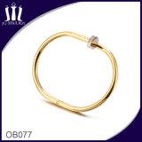Hohe polnische Edelstahl-Nagel-Armband-Goldfarbe