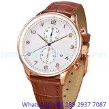 Relógio do aço inoxidável de quartzo da alta qualidade, relógio 15139 do couro genuíno