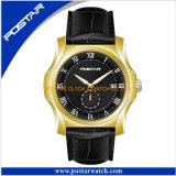本革バンドを持つ人のためのスイスの動きの水晶腕時計