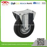 Industrielles Schwenker-Platten-Schwarz-Gummifußrolle (P102-11D080X25S)