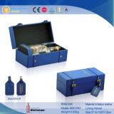 Caixa de empacotamento do vinho da exposição do couro do plutônio