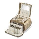 Caixa de jóias marrom com espelho e gavetas de armazenamento