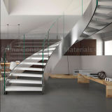 Acero inoxidable barandilla de cristal curvada de la escalera