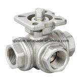Vávula de bola de la manera ISO5211 del acero inoxidable 3 de la alta calidad