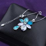 花の吊り下げ式の青い水晶金張りの鎖の方法宝石類のネックレス
