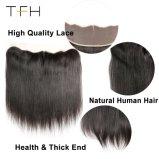 Piar Grosso Fecho Frontal em renda Brasileira Reta, 13X4 Parte livre orelha a orelha com bebê cabelos humanos 100% Remy Hair (TFH18)