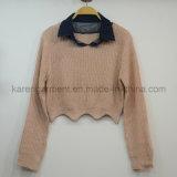Vestiti piccoli del maglione potati pettine del collare del denim