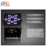 12PCS * 10W 4en1 RGBAW 2,4 GHz Wireless LED plana PAR puede con Irc control remtoe