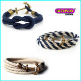 2015 New Fashion Cheap Custom Alloy Charm Colorful Rope Bracelet